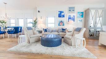 Coastal Glam Gulf View High Rise Living Room