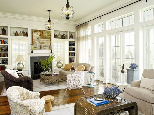 Beach Style Living Room by Michael G Imber, Architects