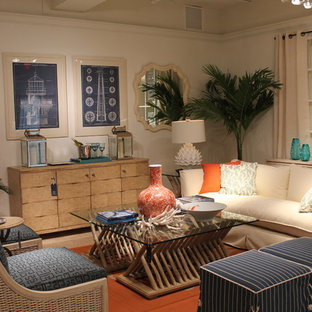 Example of an island style living room design in Miami