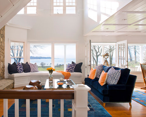 Coastal Living Room   Houzz Example of a coastal open concept living room design in Bridgeport with  white walls  medium. Coastal Living Room. Home Design Ideas