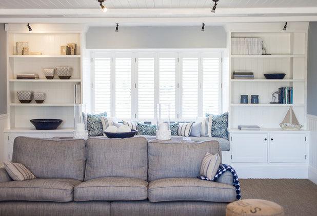 Coastal Living Room by Randell Design Group