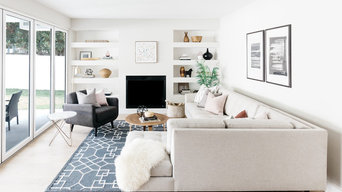 Coastal Modern Living Room with Gray and Millennial Pink