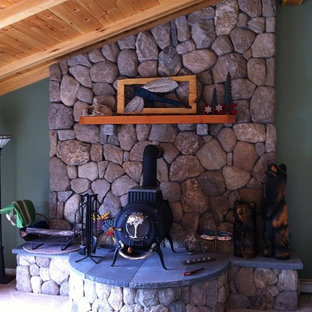 Coastline Natural Stone Veneer Fireplace