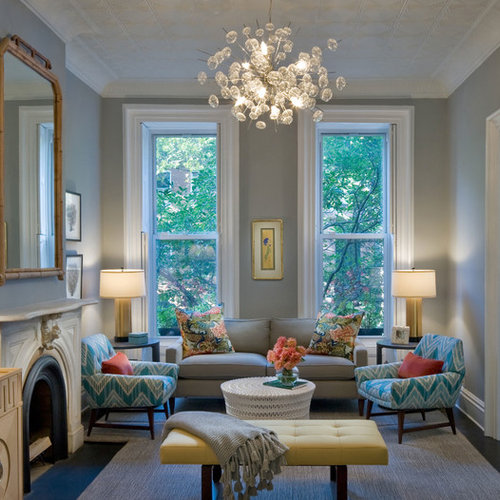 Inspiration For A Contemporary Living Room Remodel In New York With Gray  Walls