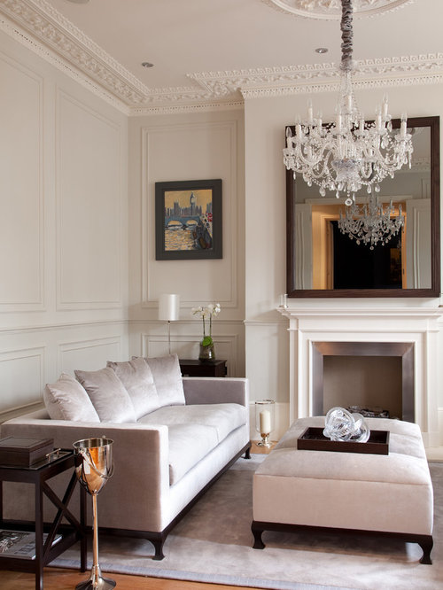Ornate Formal Medium Tone Wood Floor Living Room Photo In London With Gray  Walls And A