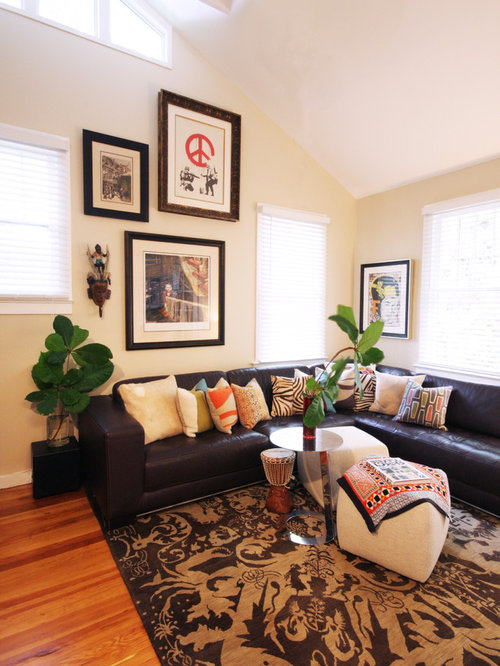 leather sofa designs for living room. Example of a large eclectic formal and open concept medium tone wood floor living  room design Leather Couch Living Room Houzz