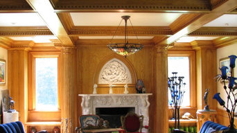 Coffered ceiling/mantel surround