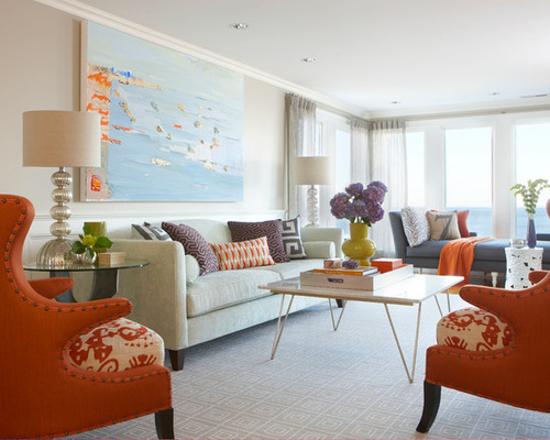 Living Room With Orange Accents Design Inspirations