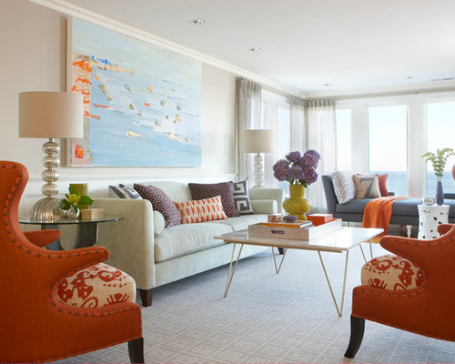 Example Of A Large Coastal Enclosed Carpeted Living Room Design In Boston  With Beige Walls And