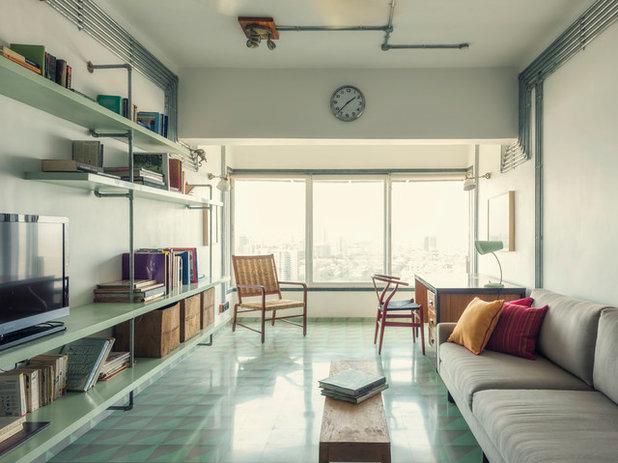 Industrial Family Room by ravi vazirani design studio