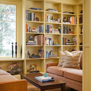Inspiration for an eclectic living room library remodel in Boston