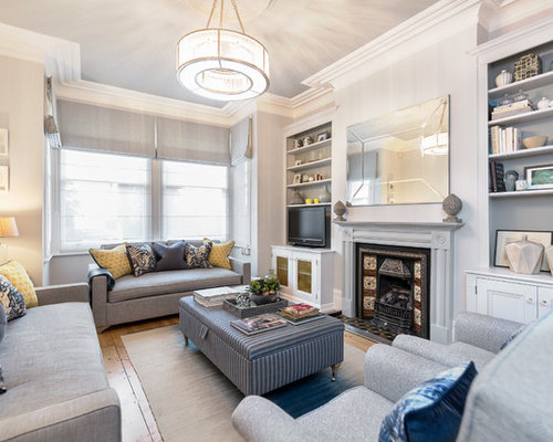 Traditional Enclosed Medium Tone Wood Floor Living Room Idea In London With  Gray Walls, A Part 76