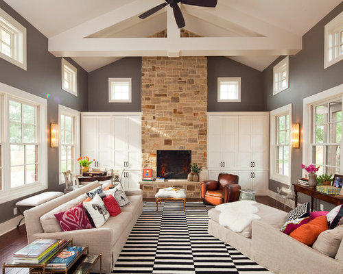 Huge Contemporary Living Room Idea In Austin With Gray Walls A Standard Fireplace And