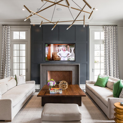 Transitional formal living room photo in New York with white walls, a standard fireplace, a stone fireplace and a wall-mounted tv