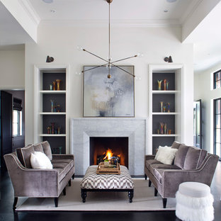 Transitional dark wood floor and black floor living room photo in Denver with white walls, a standard fireplace and a stone fireplace