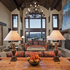 Rustic Living Room by Bulhon Design Associates