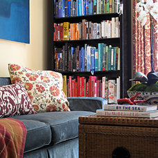 Eclectic Living Room colorful bookshelf