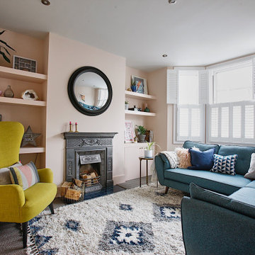 Colourful living room in this period terrace