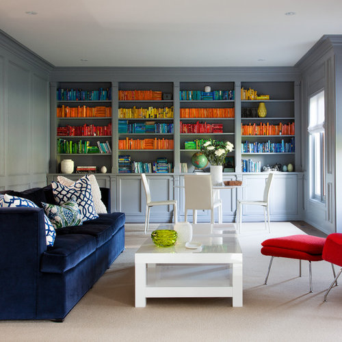 Trendy Living Room Library Photo In Toronto