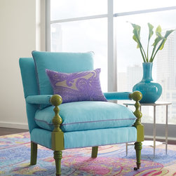 Company C Island Chair - A Stella Thistle Pillow sitting on a custom Island Chair from Company C. Look at those colors on the Sumiko Rug!