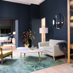 Living Room Contemporary Formal Light Wood Floor Idea In London With Blue Walls