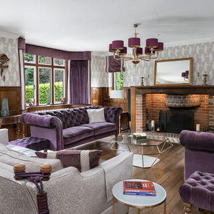 Inspiration for a large classic formal living room in Surrey with multi-coloured walls, dark hardwood flooring, a standard fireplace, a brick fireplace surround, no tv and brown floors.