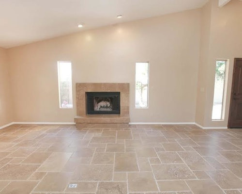 Beige Living Room Design Ideas Remodels Photos With Travertine Floors