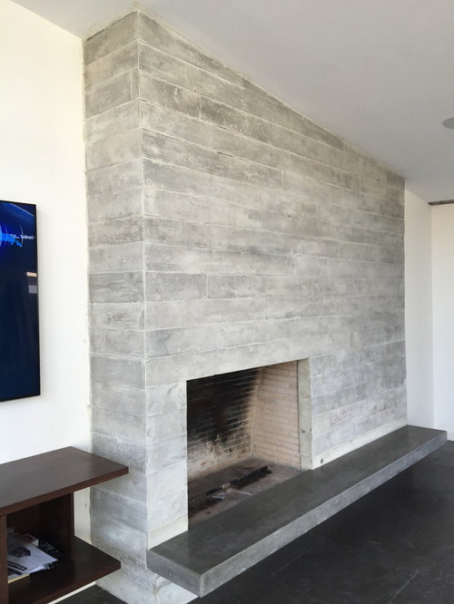 Concrete Board Form Tile Fireplace Floating Concrete Hearth
