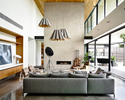 Design Ideas For A Modern Formal Open Concept Living Room In Melbourne With  White Walls,