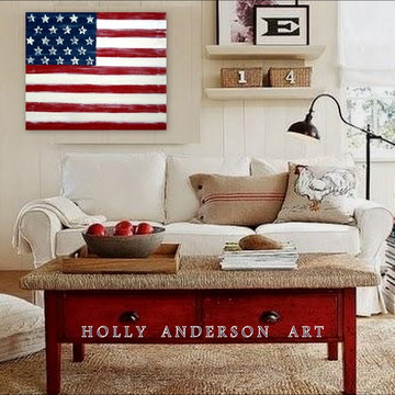 Contemporary Abstract Painting DISTRESSED AMERICANA