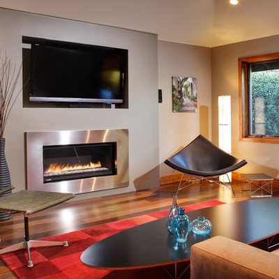 Example of a mid-sized trendy formal and enclosed medium tone wood floor living room design in Sacramento with a ribbon fireplace, a wall-mounted tv, white walls and a metal fireplace