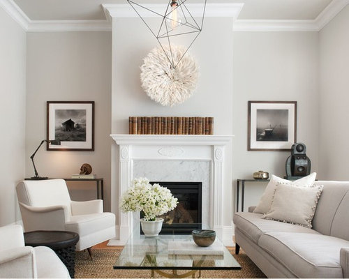 Inspiration For A Transitional Living Room Remodel In San Francisco With Gray Walls Medium Tone