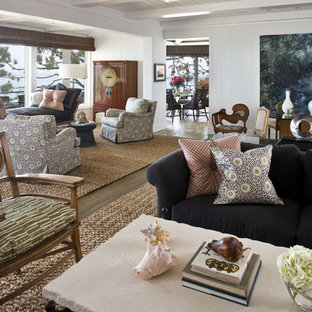 Example of a huge trendy living room design in Orange County with white walls and no tv