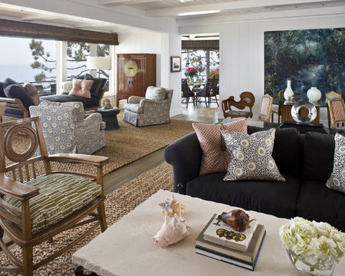 Example Of A Huge Trendy Living Room Design In Orange County With White Walls