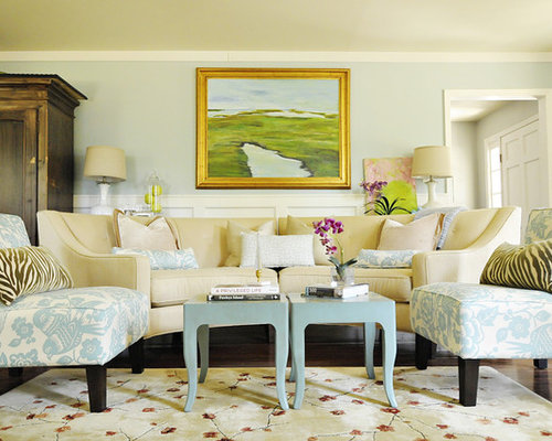 Example Of A Classic Living Room Design In Charleston With Blue Walls