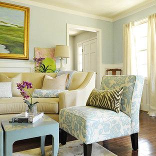 Ispirazione per un soggiorno classico con pareti blu