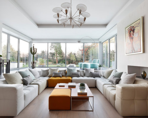 Medium Sized Modern Enclosed Living Room In London With White Walls, Light  Hardwood Flooring, Part 98