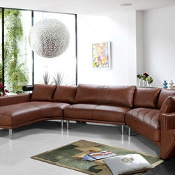 Contemporary Curved Sectional Sofa in Brown Leather - Features: