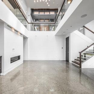Foto di un grande soggiorno design chiuso con sala formale, pareti bianche, pavimento in linoleum, camino lineare Ribbon, cornice del camino in intonaco, nessuna TV e pavimento grigio