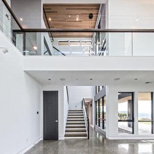 Esempio di un grande soggiorno design chiuso con angolo bar, pareti bianche, pavimento in linoleum, camino lineare Ribbon, cornice del camino in intonaco, nessuna TV e pavimento grigio