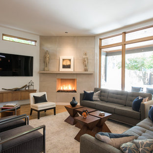 Medium sized contemporary enclosed living room in Dallas with white walls, light hardwood flooring, a corner fireplace, a concrete fireplace surround and a wall mounted tv.