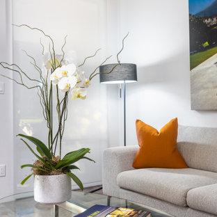 他の地域のミッドセンチュリースタイルのおしゃれなリビング (グレーの壁、磁器タイルの床、グレーの床) の写真