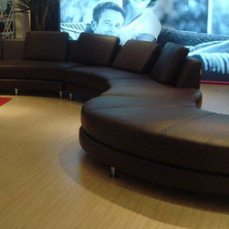Contemporary Espresso Leather Curved Sectional Sofa Set - Features: