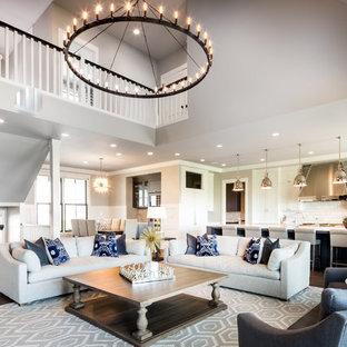 Merveilleux Living Room   Farmhouse Open Concept Dark Wood Floor And Brown Floor Living  Room Idea In