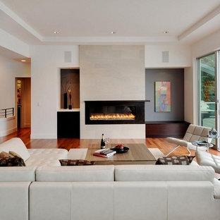 Foto di un soggiorno minimal di medie dimensioni e chiuso con pareti bianche, pavimento in legno massello medio, camino lineare Ribbon, nessuna TV e pavimento marrone