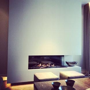 Ispirazione per un grande soggiorno design chiuso con sala formale, pareti grigie, parquet scuro, camino ad angolo, cornice del camino in intonaco e nessuna TV