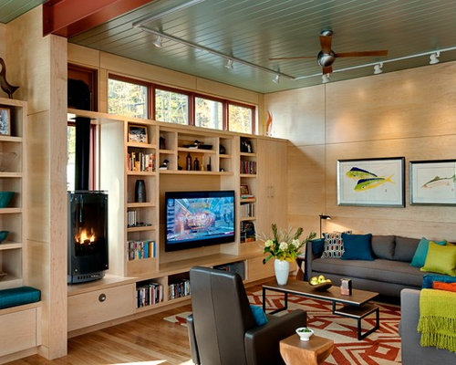 Contemporary Living Room In Burlington With Medium Hardwood Floors A Built Media Wall