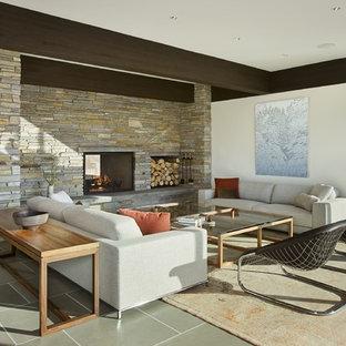 Idee per un soggiorno minimal con pareti bianche, camino bifacciale e cornice del camino in pietra