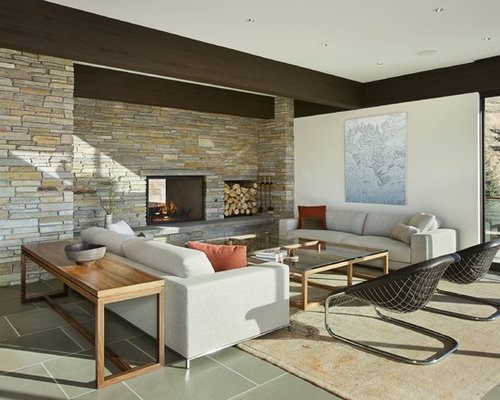 Contemporary Living Room Idea In Boise With White Walls A Two Sided Fireplace And