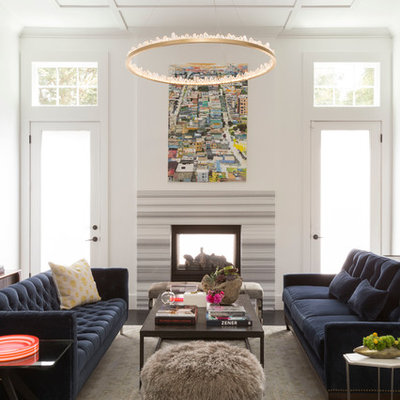 Living room - large contemporary formal dark wood floor living room idea in San Francisco with white walls and a two-sided fireplace